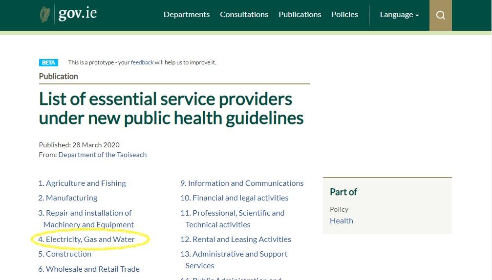 gov ie essential service details - drain cleaning Dublin